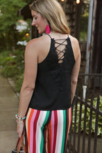 Load image into Gallery viewer, Black Lace Back Tank