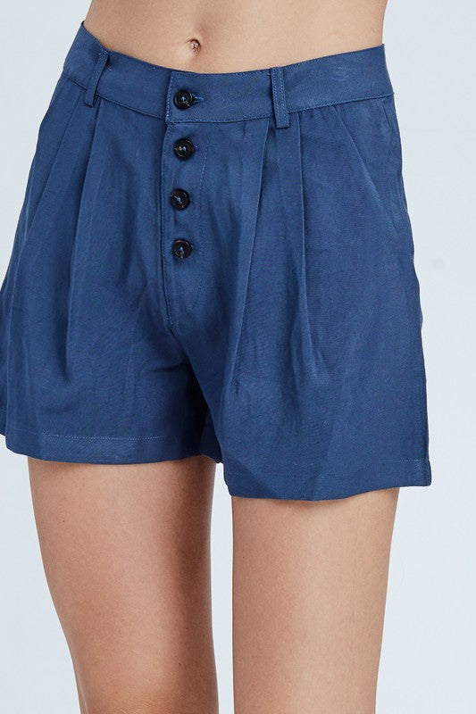Pleat Front Shorts - Navy