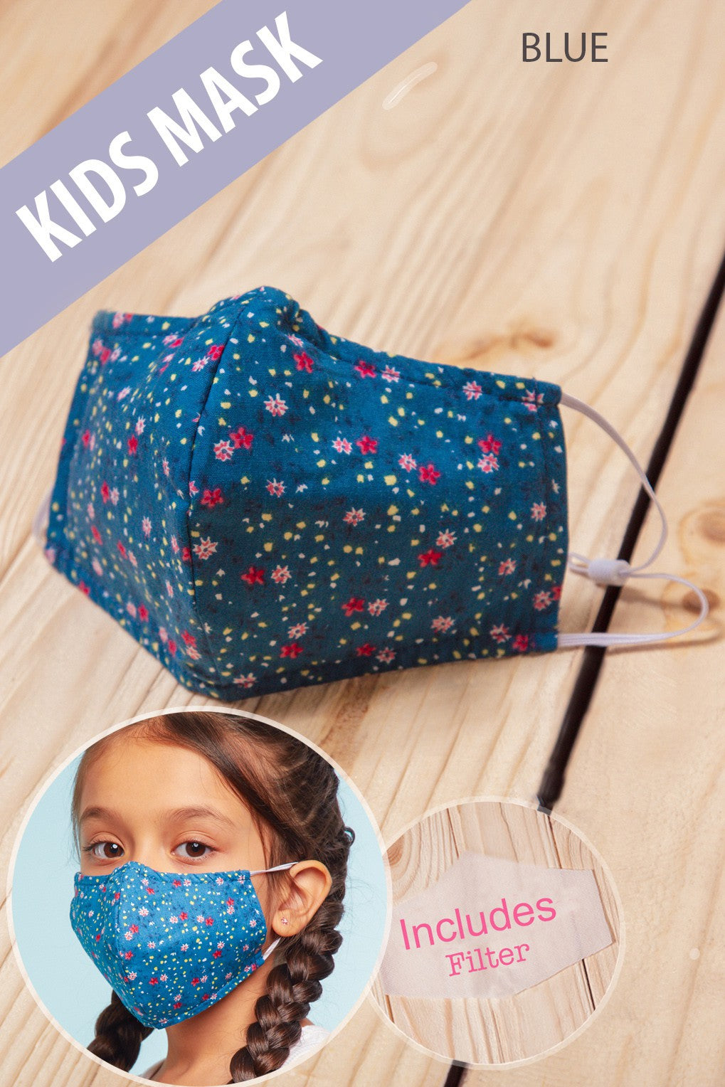 Kids Mask - Blue Floral