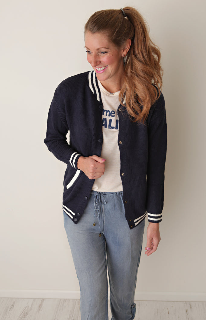 Navy Bomber Sweater