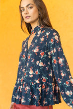 Load image into Gallery viewer, Navy Floral Blouse