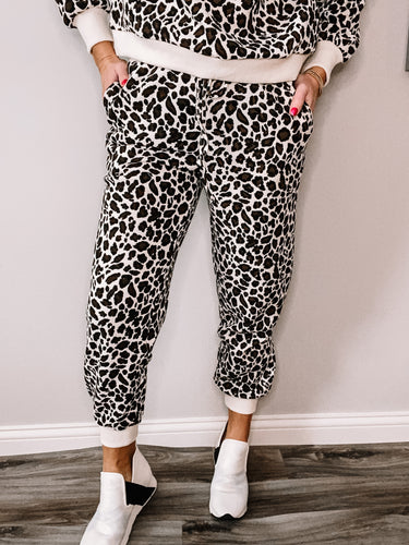 Lounging in Leopard Joggers