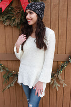 Load image into Gallery viewer, Sweet Cream Lace Trim Sweater