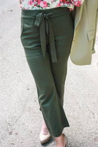 Olive Knit Crop Pants