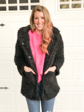 Load image into Gallery viewer, Hooded Plush Coat - Black