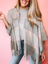 Load image into Gallery viewer, Pink Plaid Shawl Poncho