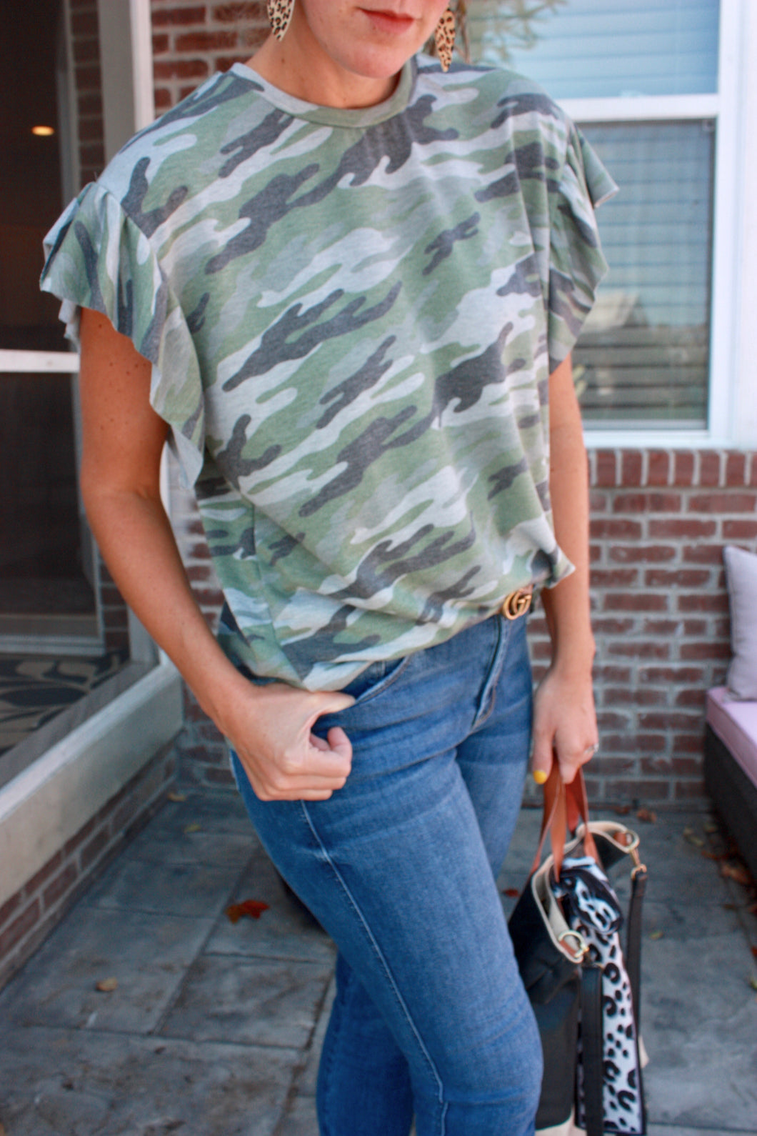 Camo Flutter Sleeve Top