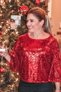 Red Sequin Holiday Top