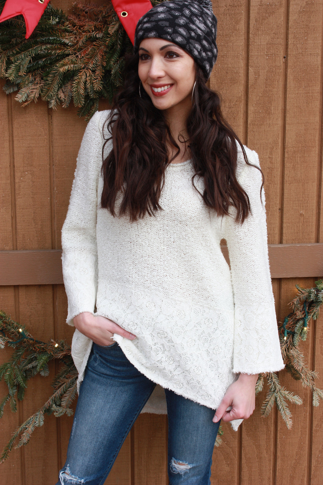 Sweet Cream Lace Trim Sweater