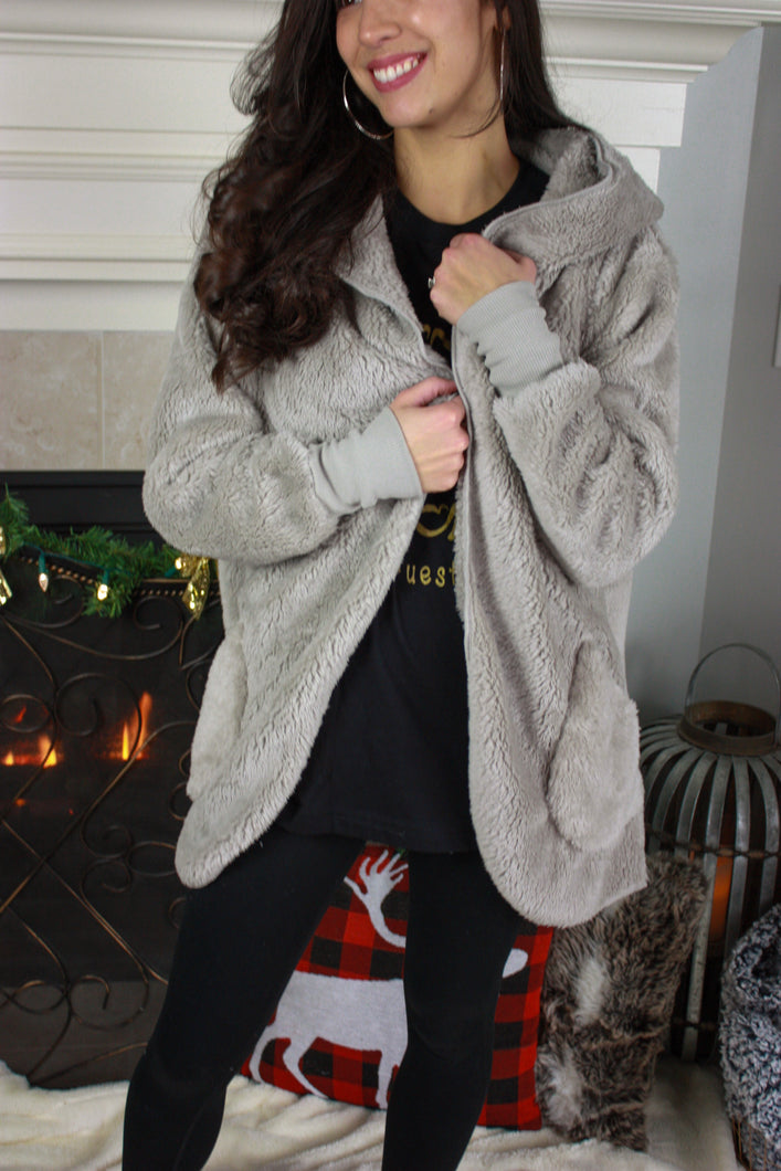 Plush Hooded Cardigan- Gray