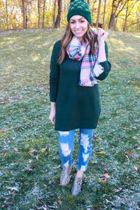 Pops of Pink Plaid Scarf