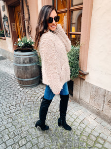 FLASH SALE / Plush Fur Jacket - Taupe