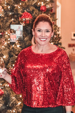 Load image into Gallery viewer, Red Sequin Holiday Top