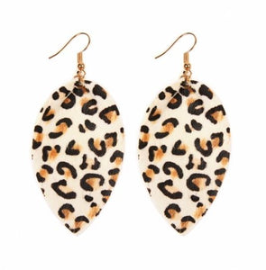 Restocked! Leopard Leather Earrings - Cream