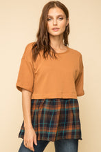 Load image into Gallery viewer, Mustard Plaid Peplum Top