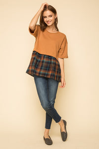 Mustard Plaid Peplum Top