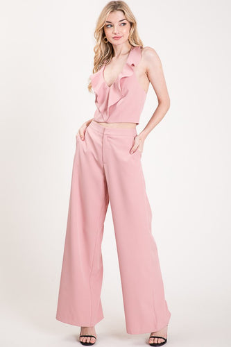 Ash Rose Wide Leg Trouser Pants