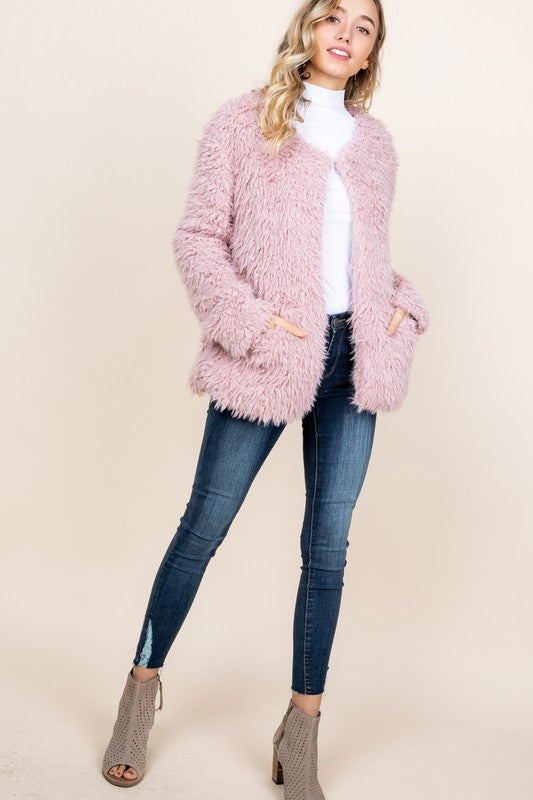 Plush Fur Jacket - Mauve