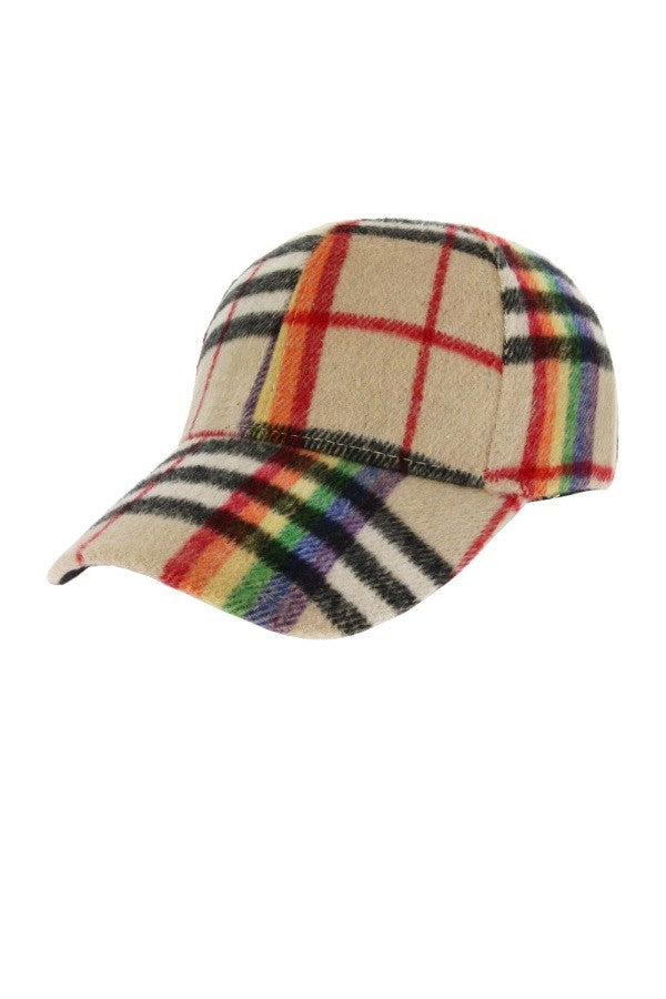 Rainbow of Plaid Hat - Oatmeal