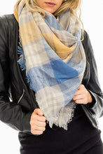 Load image into Gallery viewer, Plaid Blanket Scarf- Mustard