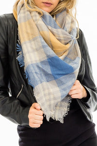 Plaid Blanket Scarf- Mustard