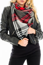 Load image into Gallery viewer, Plaid Blanket Scarf- Red