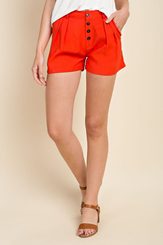 Pleat Front Shorts - Red