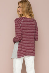 Burgundy Henley Top