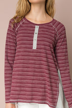 Load image into Gallery viewer, Burgundy Henley Top
