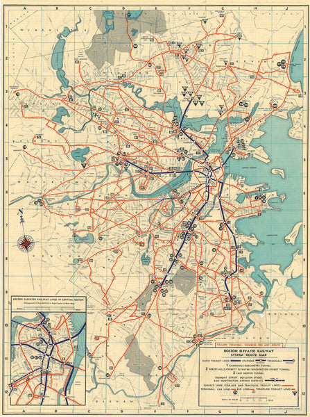 Boston Elevated Railway System Route Map 1942