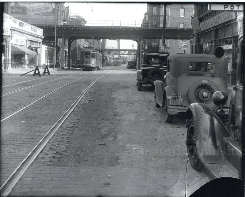 Streetcars on Broadway in South Cove, Boston, Circa 1930s