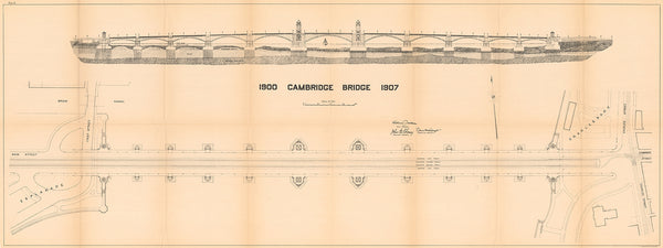 Cambridge Bridge Commission Report 1909: New Bridge Plan and Elevation 1907