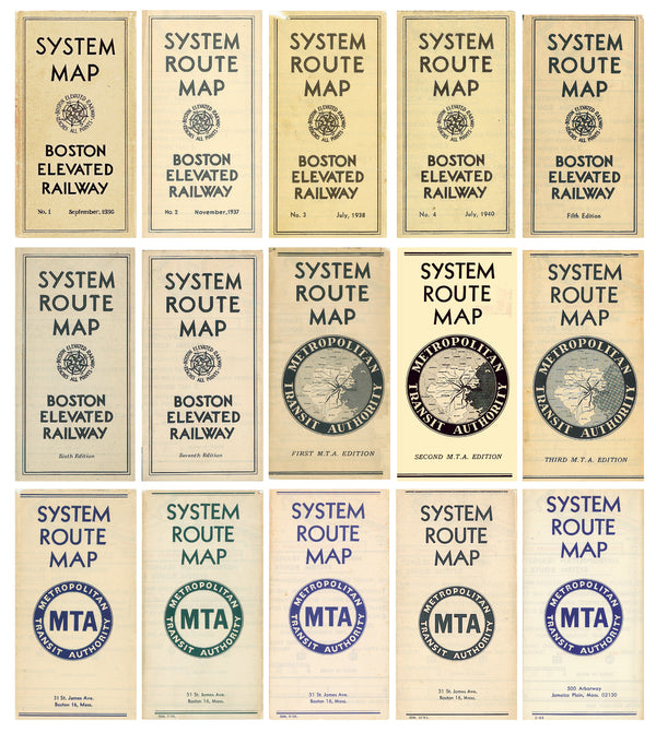 Boston System Route Map Covers 1936 - 1964