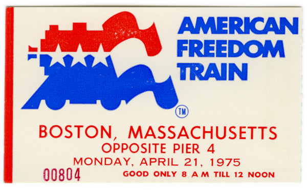 American Freedom Train Boston Ticket 1975
