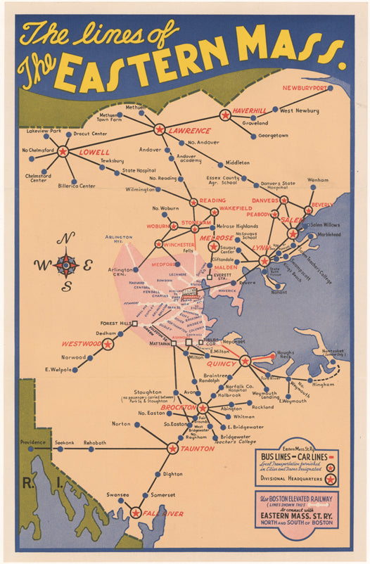 Lines of the Eastern Mass. Street Railway 1945