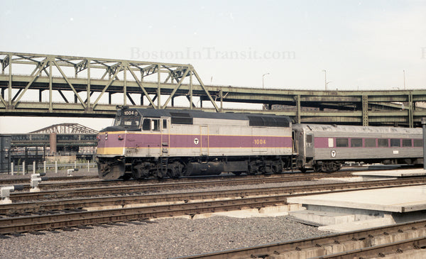 MBTA Locomotive 1004 with Coach at North Station 1967