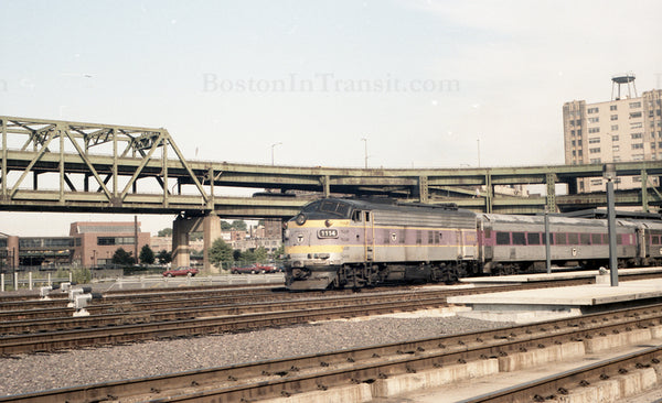 MBTA Locomotive 1114 with Train at North Station 1967