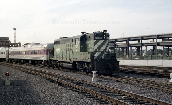 Train of RDCs led by MBTA Locomotive 1921 at North Station 1967