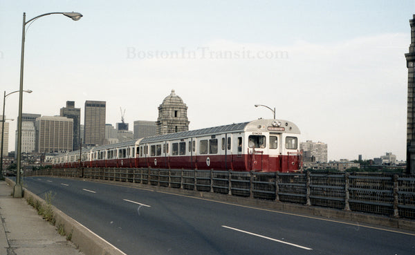 Train of MBTA Red Line 01400s Crossing Longfellow Bridge from Boston 1967