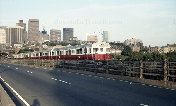 Train of MBTA Red Line 01400s Crossing Longfellow Bridge from Boston 1967 #2