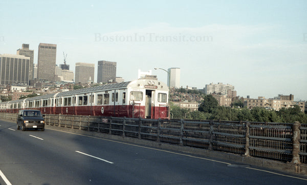 Train of MBTA Red Line 01400s Crossing Longfellow Bridge from Boston 1967 #3