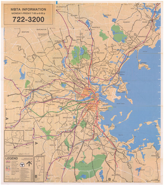 MBTA System Route Map 1977-1978