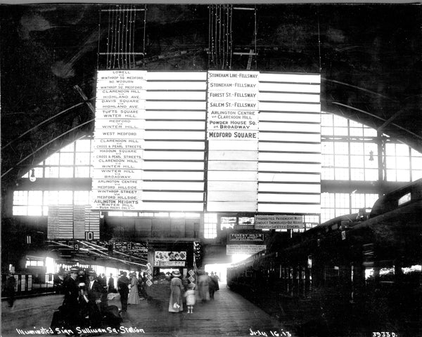 Sullivan Square Station Streetcar Departure Boards, July 16, 1913