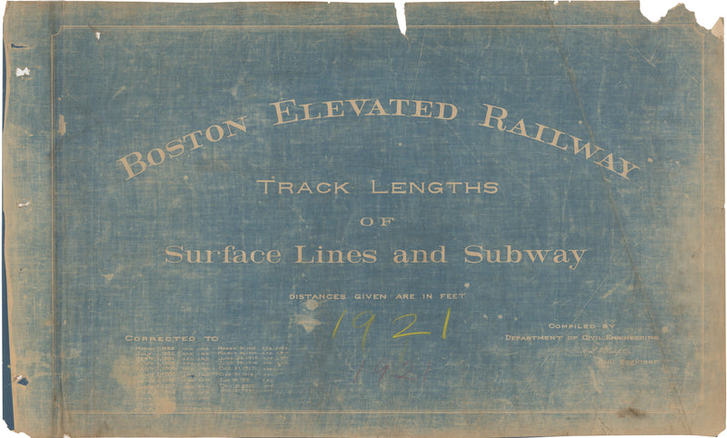 Boston Elevated Railway Co. Track Plans 1921 Title Page