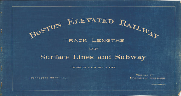 Boston Elevated Railway Co. Track Plans 1936 Title Page