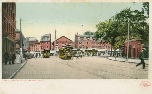 Harvard Square with Open-type Streetcars 12
