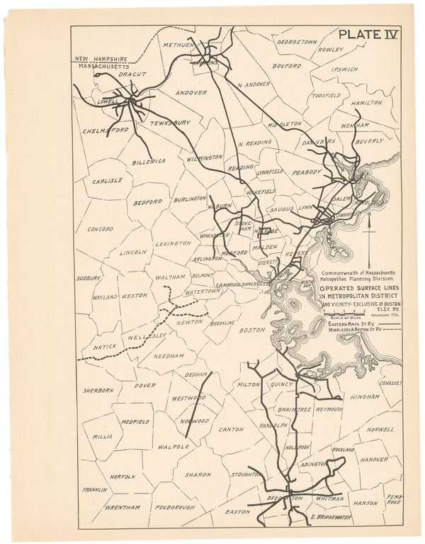 Plate 004: Non-Boston Elevated Railway Co. Streetcar Lines 1926