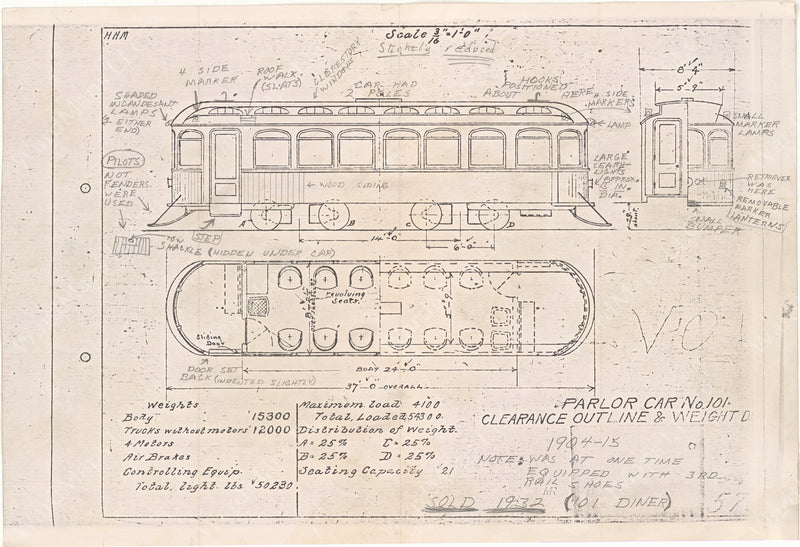 Vehicle Data Sheet 5702: Boston Elevated Railway Co. Parlor Car #101 (with notes)