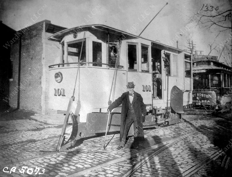 Boston Elevated Railway Co. Snow Plow #101 Circa 1900