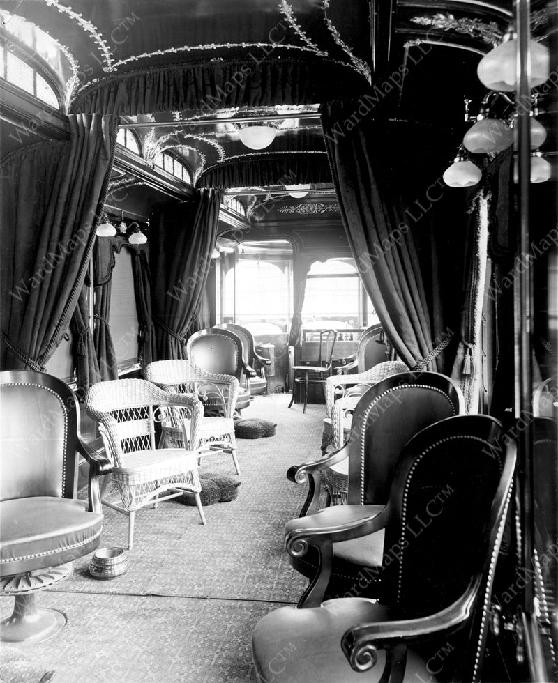 Boston Elevated Railway Co. Parlor Car #101 Interior Circa 1905